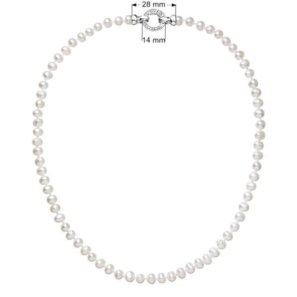 Pavona Stříbrný perlový náhrdelník s bílou říční perlou 22001.1